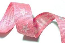 tassenband met sterren 4 cm breed: roze/wit