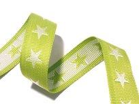 tassenband met sterren 4 cm breed: lime/wit
