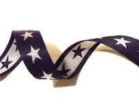 tassenband met sterren 4 cm breed: donkerblauw/wit