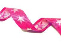 tassenband met sterren 4 cm breed: fuchsia/wit