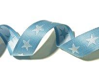 tassenband met sterren 4 cm breed: lichtblauw/wit