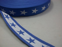 tassenband met sterren 4 cm breed: blauw/wit
