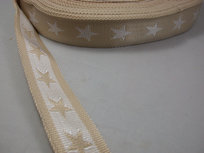 tassenband met sterren 4 cm breed: zand/wit