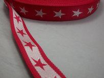 tassenband met sterren 4 cm breed: rood/wit