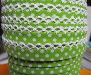 biaisband limegroen met witte stip en wit randje