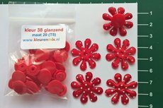 5 rode stevige dunne rood-met-witte-stip-bloemen met bijpassende snaps maat 20