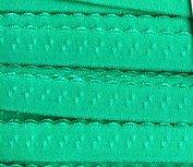 zeeblauwgroen oftewel donker mint omvouwelastiek met klein schulprandje op de vouw