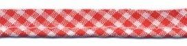 paspelband rood/wit ruitje katoen/polyester