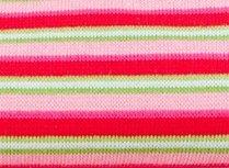 fijne boordstof gestreept: roze/fuchsia/rood met een smal streepje groen