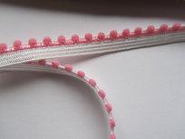 elastisch pomponband, roze