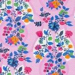 Flora: tricot fantasiebloemen op roze met kleine witte stipjes naar een ontwerp van Jolijou