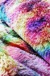 regenboog tie dye langhaar pluche of nepbont