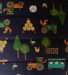 Doorgestikte jassenstof boerderij Vos op donkerblauw