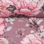 Matti: digitaal bedrukte tricot: bloemen op oudroze