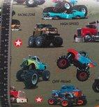 Monstertrucks op legergroene tricot