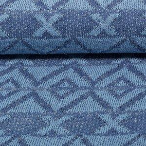 Ponte: gebreide stof met glitters in grafisch design: licht en donkerder jeansblauw/zilver