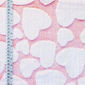 Kunstbont snowtop hearts wit/rood (lijkt roze)