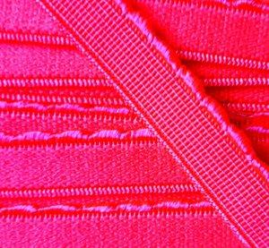 elastiek met schulprandje 12 mm breed, neon roze