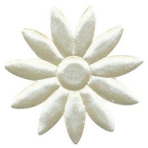 grote bloem, glimmend gebroken wit satijn bijna 5 cm
