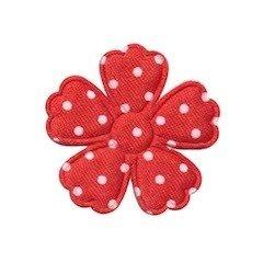 35mm bloem rood satijn met witte stip