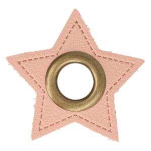bronskleurige nestels op ster van roze nepleer: gat diameter 8 mm