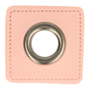 oudzilveren nestels op roze vierkant van nepleer: gat diameter 11 mm