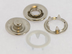 10 metalen open-ring-drukkers 9 mm wit