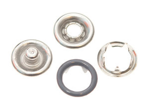 10 metalen open-ring-drukkers 9 mm grijs