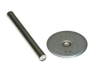 Metalen slagpen met slagblokje voor het bevestigen van holnieten met dubbele kop van 9 mm