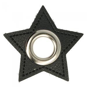 nestels op ster van zwart nepleer: gat diameter 11 mm