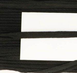 paspelband zwart met gedraaid koord 4mm dik