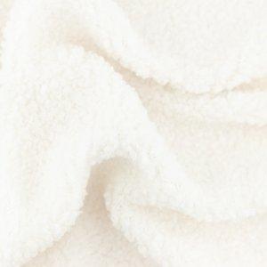 Rekbare teddy, korte krulletjesfleece gebroken wit