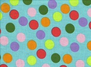 coupon 100 cm: Erding: gekleurde ballen op turquoise ondergrond