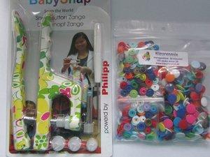 BABYsnaptang met bloemenmotief! groen/roze plus mengpakket 100 snaps (maat 20)