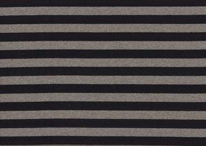 coupon 70 cm: Gilda: brede strepen, tricot zwart-grijs 160 breed