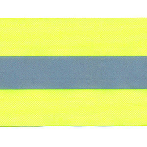 Fluoriserend geel plastic band met reflectiestreep 50mm