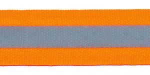 Fluoriserend oranje ribsband met reflectiestreep 25 mm