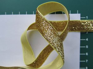 glitterband 15 mm, goud