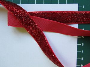 glitterband 15 mm, rood