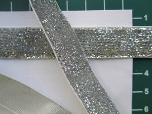 glitterband 15 mm, zilver
