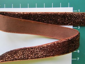 glitterband 15 mm, bruin