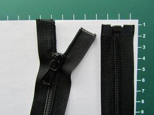 Deelbare rits met automatische runner, zwart, 45 cm