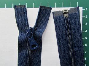 Deelbare rits met automatische runner, donkerblauw, 35 cm