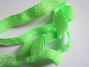 glitterelastiek neongroen 1cm breed