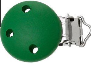 speenkoordclip, hout groen met drie gaatjes