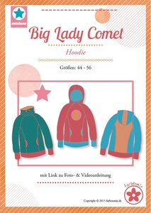 Big Lady COMET/ patroon van een hoody in de maten 44, 46, 48, 50, 52, 54, 56