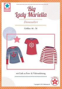 Big Lady Mariella/ patroon van een shirt met boothals in de maten 44, 46, 48, 50, 52, 54, 56