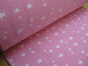 coupon 30 cm :boordstof met geweven ster: roze