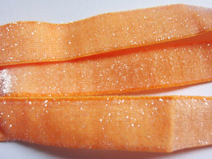 glitterelastiek oranje 1,6 cm breed