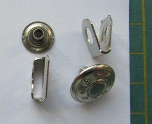 Broekhaak met jeansknoop zilver